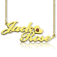 Women's Custom Double Name Necklace Gold Choker Chain Birth Stone Couple Necklaces Nameplate Suspensions Jewelry Gift for Lover