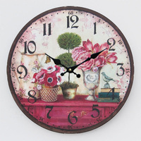 070358 Pastoral Classic Wooden Ultra Quiet Wall Clock New Design Living Room Creative Fashion Home Decoration