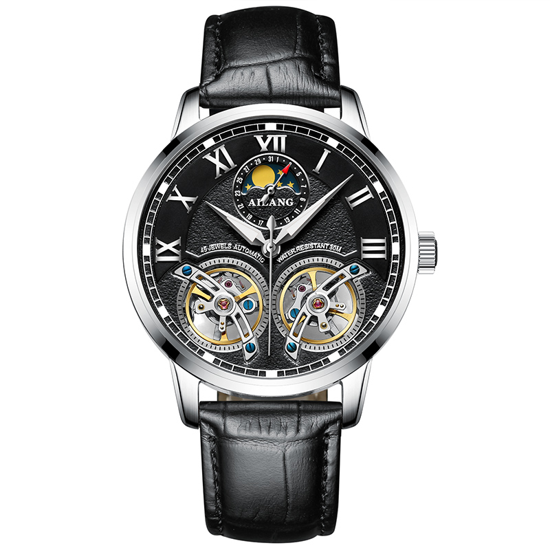 AILANG 8221A Switzerland watches men luxury brand Automatic Double Tourbillon Moon phase Watch Casual Business Relogio masculino ailang 8221a switzerland watches men luxury brand automatic double tourbillon moon phase hollow business watch relogio masculino