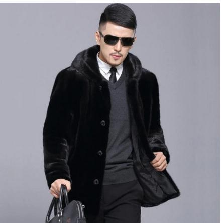 Black Mens Hooded Imitation Fur Jackets Long Section Large Size Casual Winter Fake Mink  ...