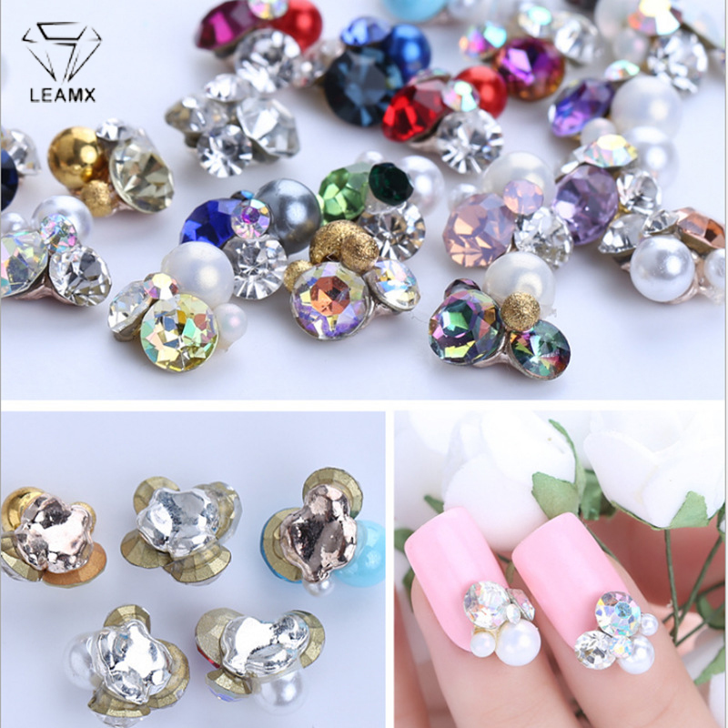 LEAMX 10 PCS 3D Nail Art Decorations Large Grain Rhinestone Pearl Embellishment Alloy Charm Beautiful Girl Manicure Decor L465 in Rhinestones Decorations from Beauty Health