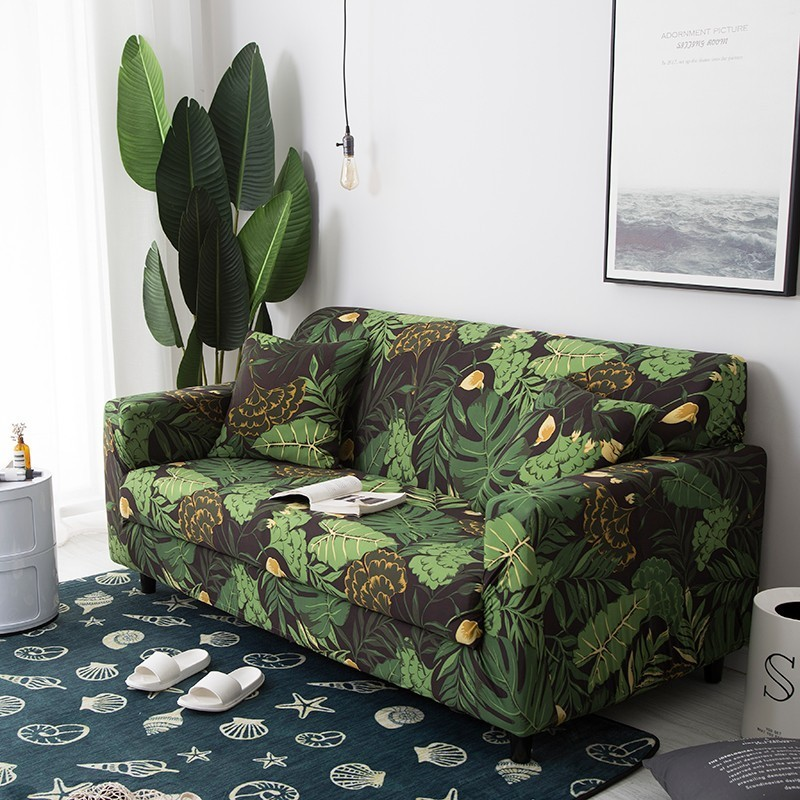 Tropical Leaves And Flowers Flexible Sofa Slipcover
