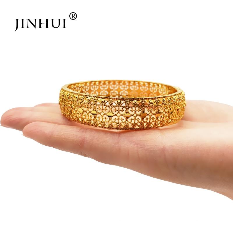 Nueva moda de Jin Hui brazaletes para boda de Color dorado para mujer la novia puede abrir pulseras etíope/Francia/Africano/Dubai joyería regalos Enfashion brazalete básico Manchette brazalete de acero inoxidable de color dorado para mujer y hombre brazaletes pulseras Pulseiras