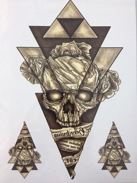 2016 NOVO Design Simples Esqueleto Triângulo Tamanho 21X15 CM Legal Sexy  Beleza Tatuagem À Prova D 829905f8a84a