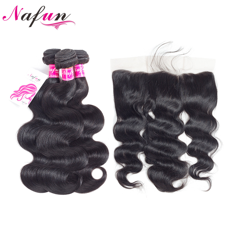 NAFUN Hair Brazilian Body Wave Human Hair Bundles With Lace Frontal Closure Non-Remy Natural Color Hair 3 Bundles With Frontal