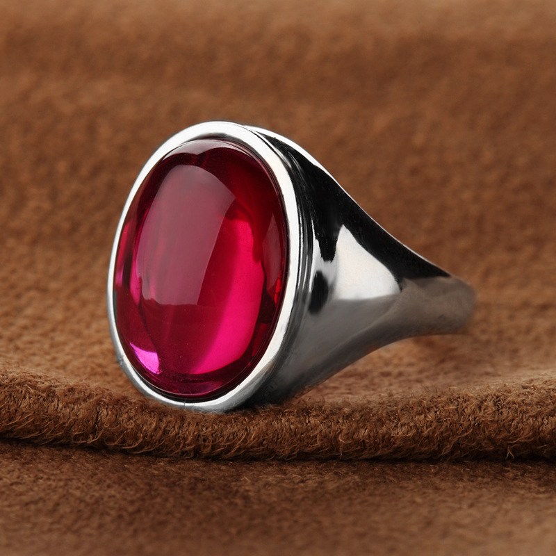 authentic 925 sterling silver Natural semi-precious stones rings for girls finger red corundum atmosphere fashion lady Jewelry
