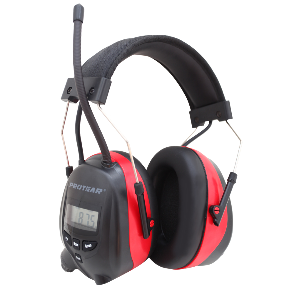 Protear NRR 25dB Hearing Protection AM FM Radio 1200 MAh Rechargeable Lithium Battery Earmuffs Electronic Ear Protection Red