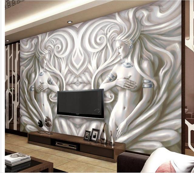 3d name tapeten benutzerdefinierte 3d wallpaper weiblichen modernen skulptur relief wandmalereien bad 3d tapeten moderne tapete - Moderne Tapeten
