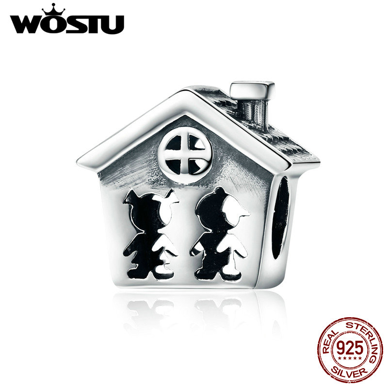 WOSTU 100% Pure 925 Sterling Silver Openwork Boy and Girl Loving Home Family Beads for Women Charm Bracelet Warm Gift BKC538