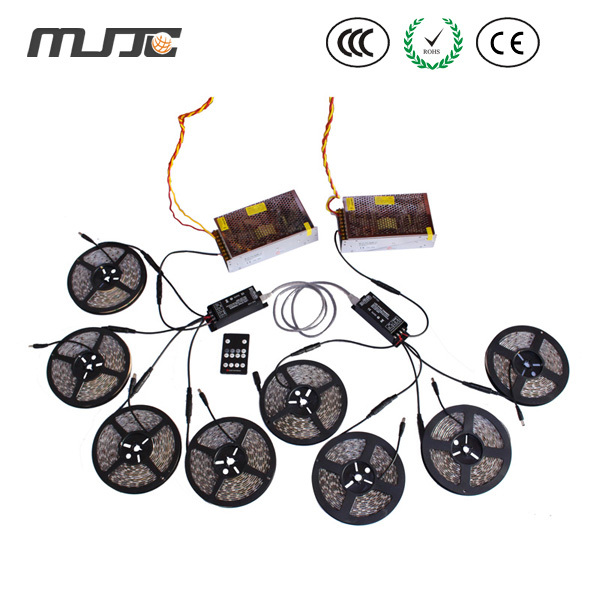 MJJC 4 шт. 5 м водонепроницаемый Светодиодные ленты свет + 2 шт. 25A РФ Диммер + 2 шт. 300 Вт источника питания + 1 шт. RJ45 набор кабелей для свет украшени
