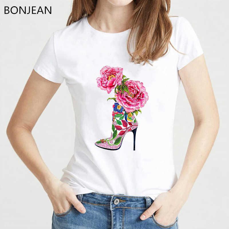 Vogue acquerello fiori di alta scarpa tacco stampato maglietta delle donne di bianco di estate superiore femminile t-shirt femme punk t shirt streetwear