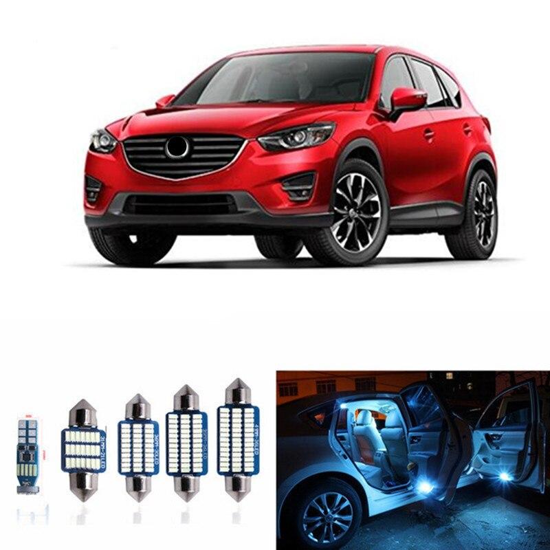 10pcs CANBUS Error Free LED Interior Light Kit Package for for 2013 2014 2015 2016 2017 Mazda CX-5 CX5 Dome light white ice blue