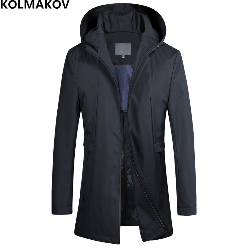 2019 New Arrival Men's   Trench   Coats Male Spring Autumn mens Classic Coat Homme Hooded Windbreaker High Quality Overcoat M-4XL