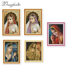 An Indian kecantikan cross stitch kit 14ct animal18ct count 11ct cetak jahitan bordir DIY buatan tangan menjahit ditambah(China)