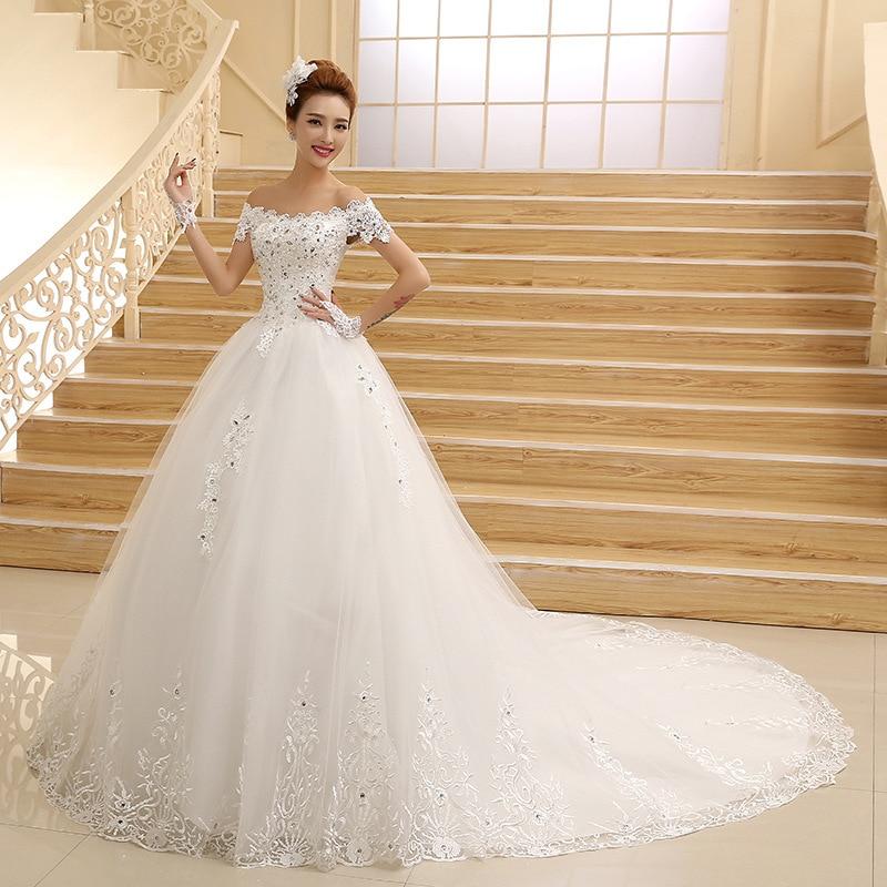vestido de novia 2018 hot Bride Princess white ivory Lace Embroidery  Beading Luxury Long Royal Train Plus Size Wedding Dresses-in Bridesmaid  Dresses from ... 20b2e82b0409