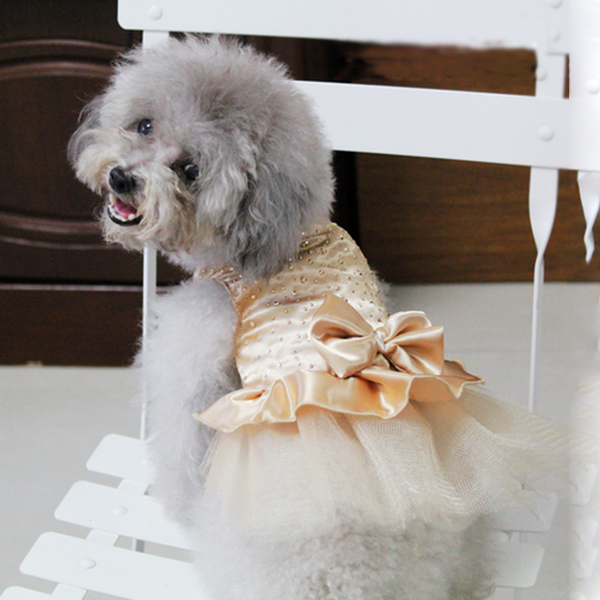 Hunde Puppy Bryllup Fest Blonde Kjole Tøj Bow Tutu Prinsesse Hund - Pet produkter - Foto 3