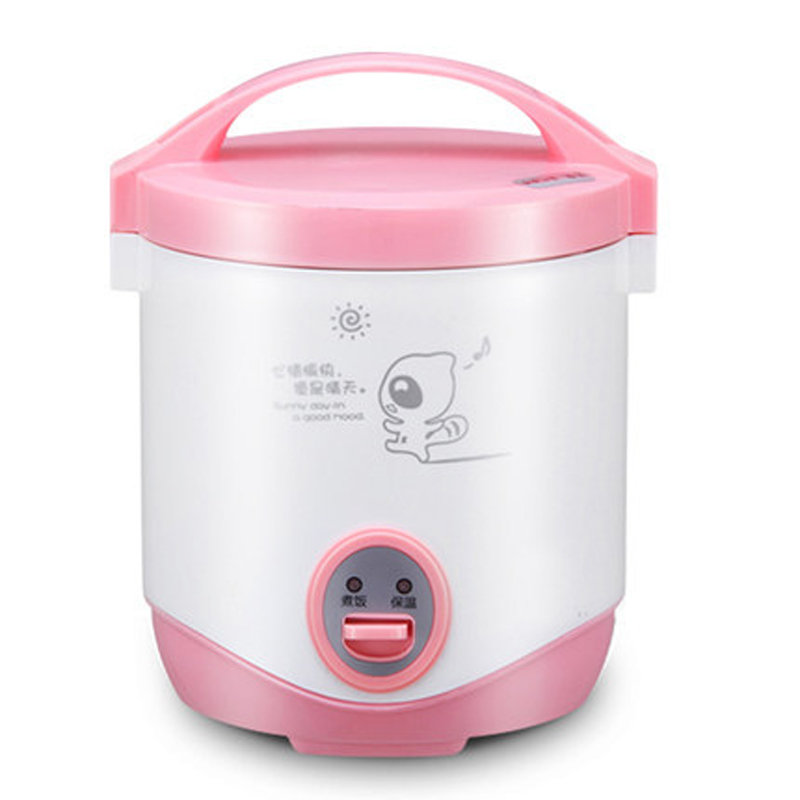 freeshipping 200w power 1.0L capacity AC220-240V mini rice cooker lunch box suited for 1-2 people can stew soup , heat lunch image