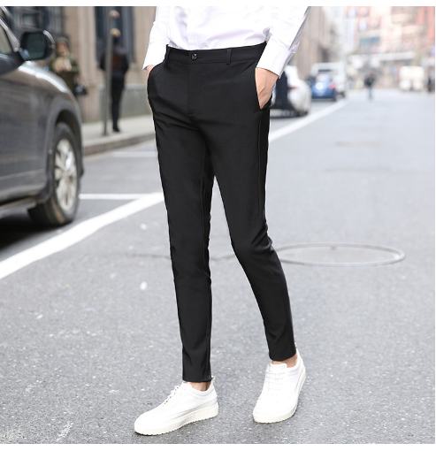 Mens Business Formal Dress Suit Trousers Slim Fit Cropped Pants Fashion HOT Male Pant