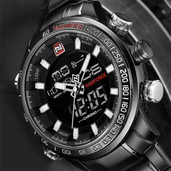 NIEUWE Top Luxe Merk Mannen Sport Polshorloge heren Militaire Waterdichte Horloges Mannen Volledig Stalen LED Digitale Horloge Klok mannelijke