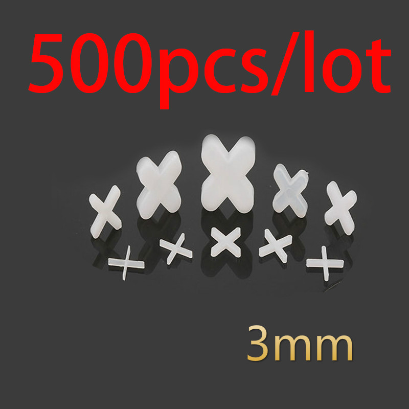 500pcs Tile Spacer Cross Plastic 3mm Tiling Ceramic Tilers Plumbers White Cross Clips Tile Leveling System