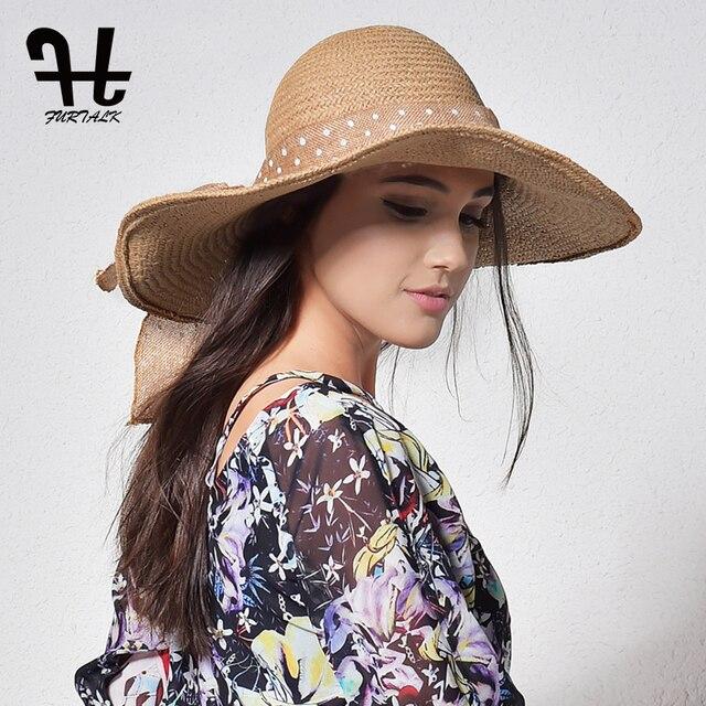 Furtalk sombreros de paja de verano para las mujeres diseño de moda playa Sol  sombrero plegable cc50da225fe