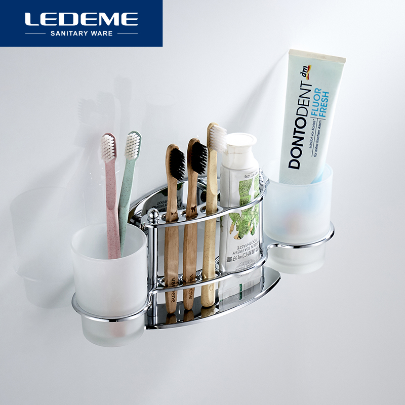 LEDEME Toothbrush Holder Bathroom Family Toothbrush Cups Tumbler Holders Chrome Bathroom Glass Cup Multifunction Holder L101
