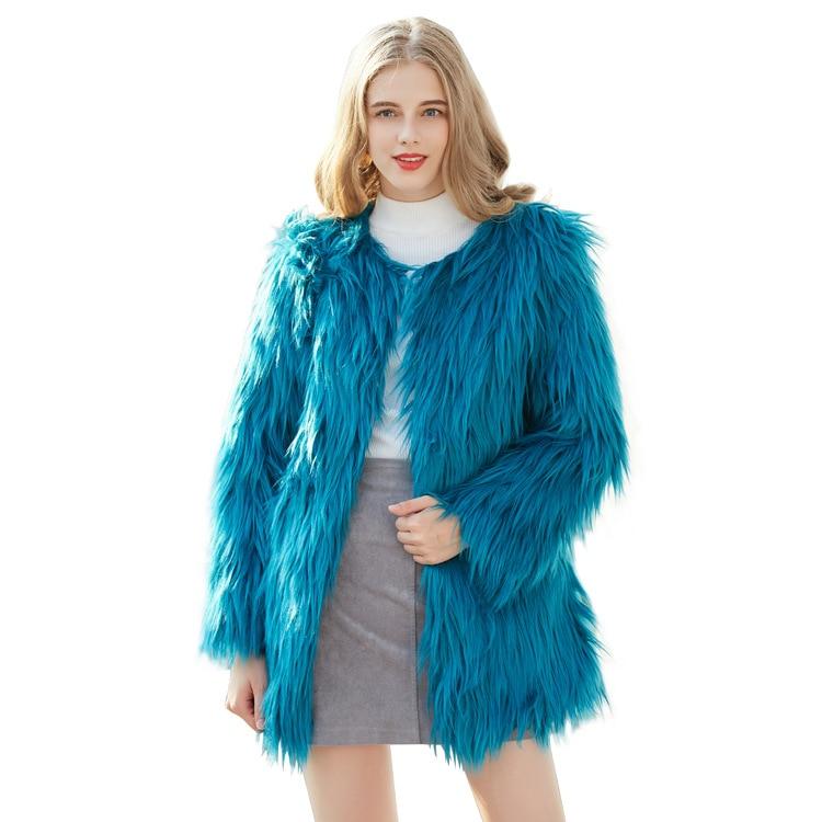 Pecore Di Faux Nuove grigio Modo Pelliccia Del Bianco blu 2018 Cappotto Vestiti il Nero Mongolia Donne Imitazione Delle kOX08nwP