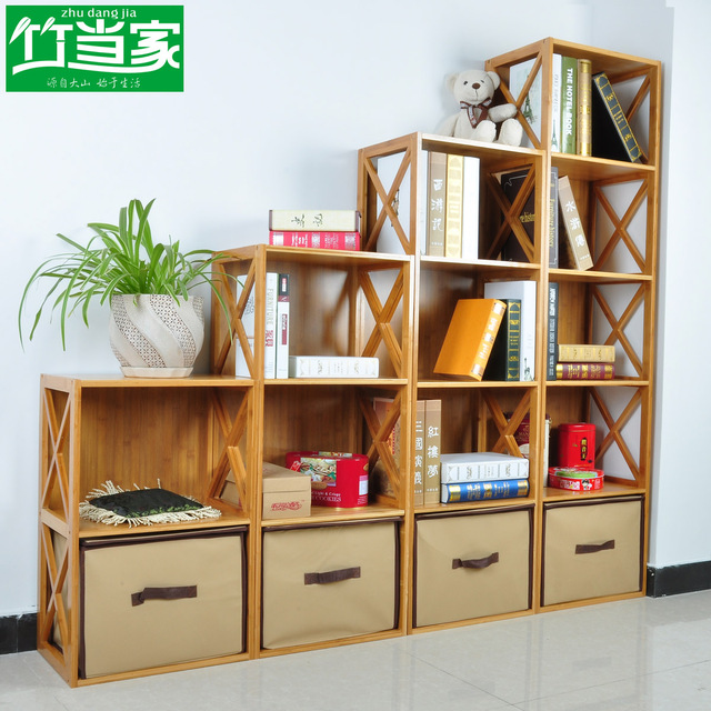 Bamboo child bookcase simple bookcase storage cabinet bookshelf bookcase solid wood