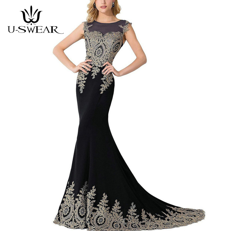 U-SWEAR   Evening     Dress   2019 Sexy Backless Lace Applique Slim   Evening   Party Prom Formal Gowns Long   Dresses   Vestidos Robe De Soiree