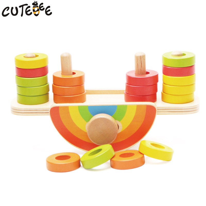 Cutebee Wooden Toys for Children Montessori Toy Building Blocks Cube Educational Rainbow Balance Blocks for Kids Baby Toys wooden snail balance toy building blocks children early educational toys montessori clown training balancing toys kids game gift