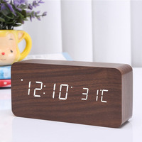 LED Digital Alarm Clock Wooden Wireless Charging Charger Thermometer Voice Control MYDING