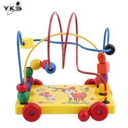 YKS трейлер игрушки Детские деревянные игрушки Детская Развивающие игрушки Мини трейлер Вокруг Бусы лабиринт игры машинки для детские