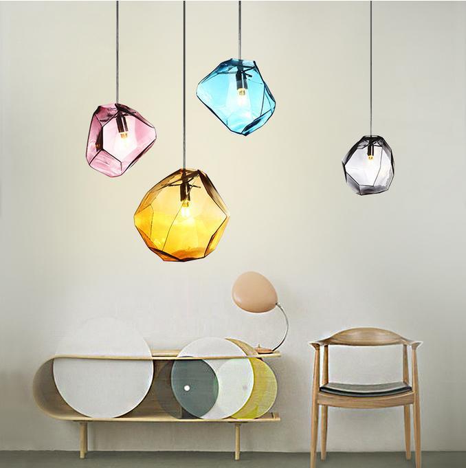 Modern Colored Glass Stone Pendant Light Creative Glass Diamond Hanging Lamp G9 Bulb Holder For Restaurant Dining Room Shop
