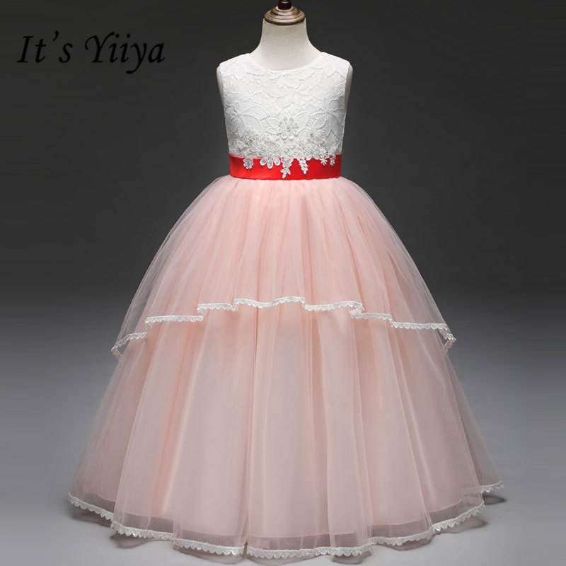 It's yiiya Hot Fashion Red Belt   Flower     Girl     Dresses   O-neck Sleeveless Patchwork   Girl     Dress   B007