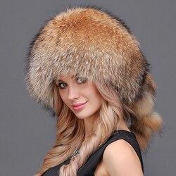 Donne Inverno Vera Pelliccia Naturale Argento Red Fox Cappello Con Pom Pom Coda di Volpe Della Signora di Inverno Cappelli Caldi Morbido Peloso Cap