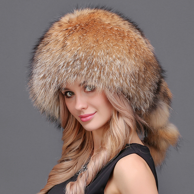 Women Winter Real Natural Fur Silver Red Fox Hat With Pom -7676