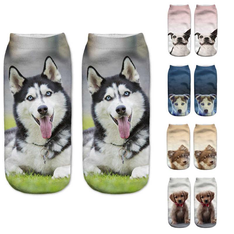 2019 Mới Nhất 3D In Hình Động Vật Vớ Thời Trang Huskies Pháp Bulldog Tranh Nghệ Thuật Vớ Nữ Nhiều Màu Sắc Đôi Tất Cotton Nữ Hot