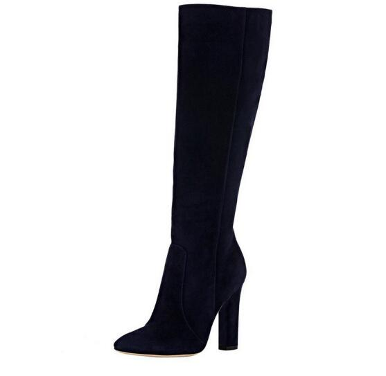Spring and autumn woman black flock round toe high heel long boots Ladies winter chunky heel knee-high boots Fashion high heels 2016 new arrival 15cm ladies motorcycle autumn and winter boots round toe 6 inch high heel boots sexy flock buckle boots
