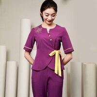2018 Short Sleeve Purple SPA Uniform Set Nurse Costume Work Wear Beauty Salon Overalls Chinese Style Teahouse Waitress Uniforms