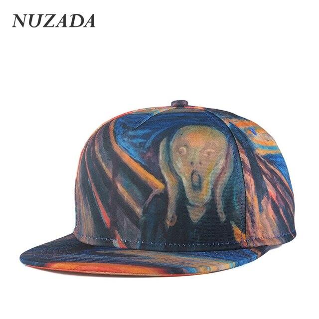 Brands NUZADA 3D Color Painting Porch Skull Spring Summer Men Women Sports Hat Hats Baseball Cap Hip Hop Snapback Caps jt-008