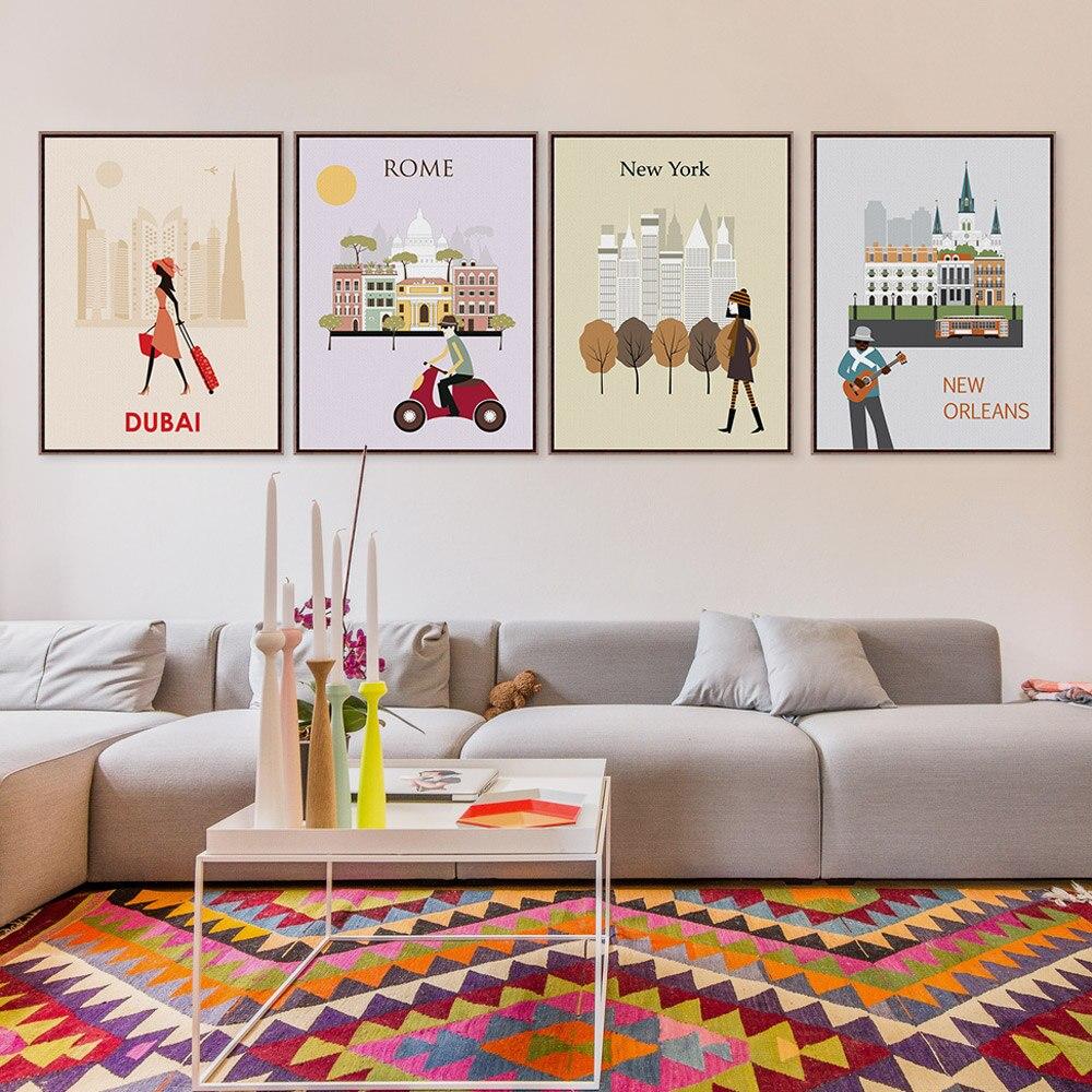 Móda Paříž Řím Londýn Cestování Město Silueta A4 Umělecká reprodukce Plakát Abstraktní Nástěnná malba Plátno Hotel Home Deco