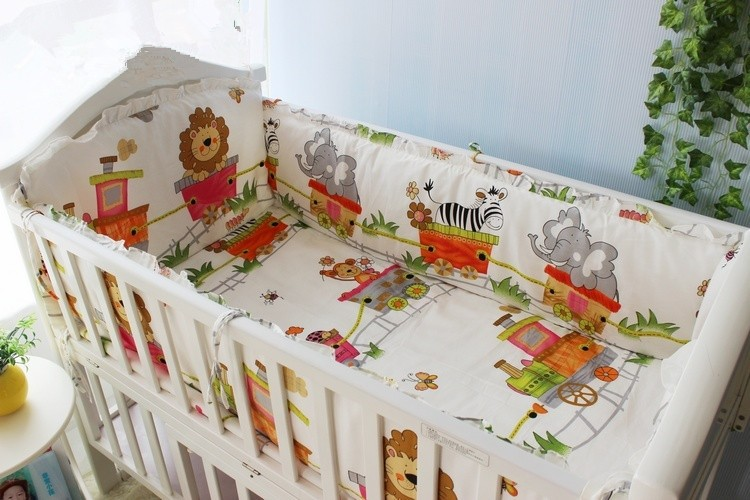 Promotion! 6PCS Lion Baby Crib Bedding Set cotton bed around the cotton baby bed around ,include(bumpers+sheet+pillow cover)