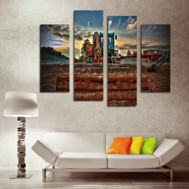 4 Panels Excavator Canvas Painting Modern HD Wall Paintings For Home Decorative Mechanical Style Art PicturesNo Frame