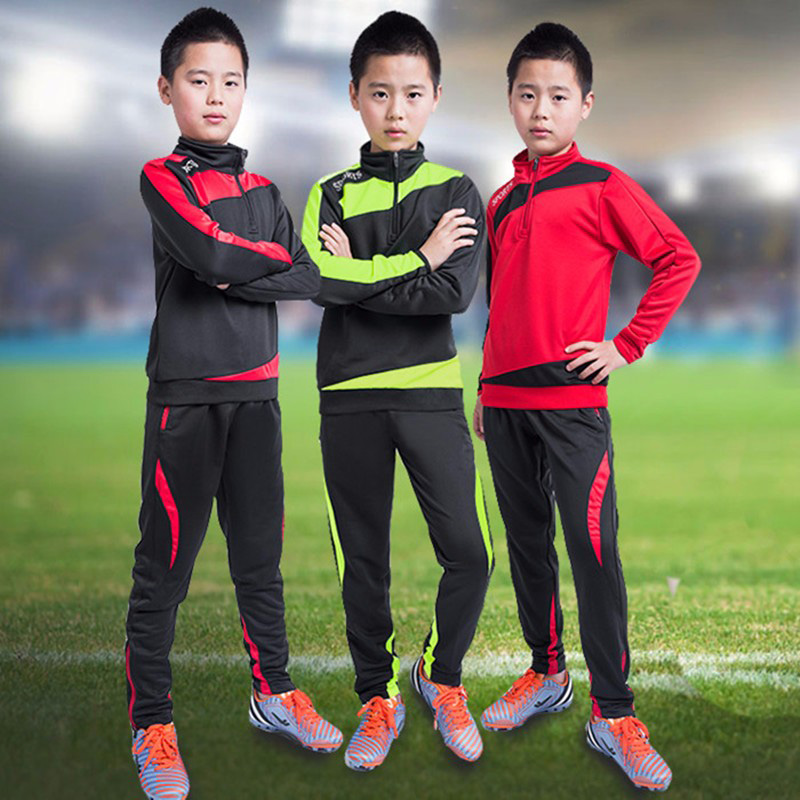 Child Training Suits Kids Soccer Jersey Kit Men Long Sleeve Zipper Football Clothing Boy Jogging Tracksuit Set 2017 26