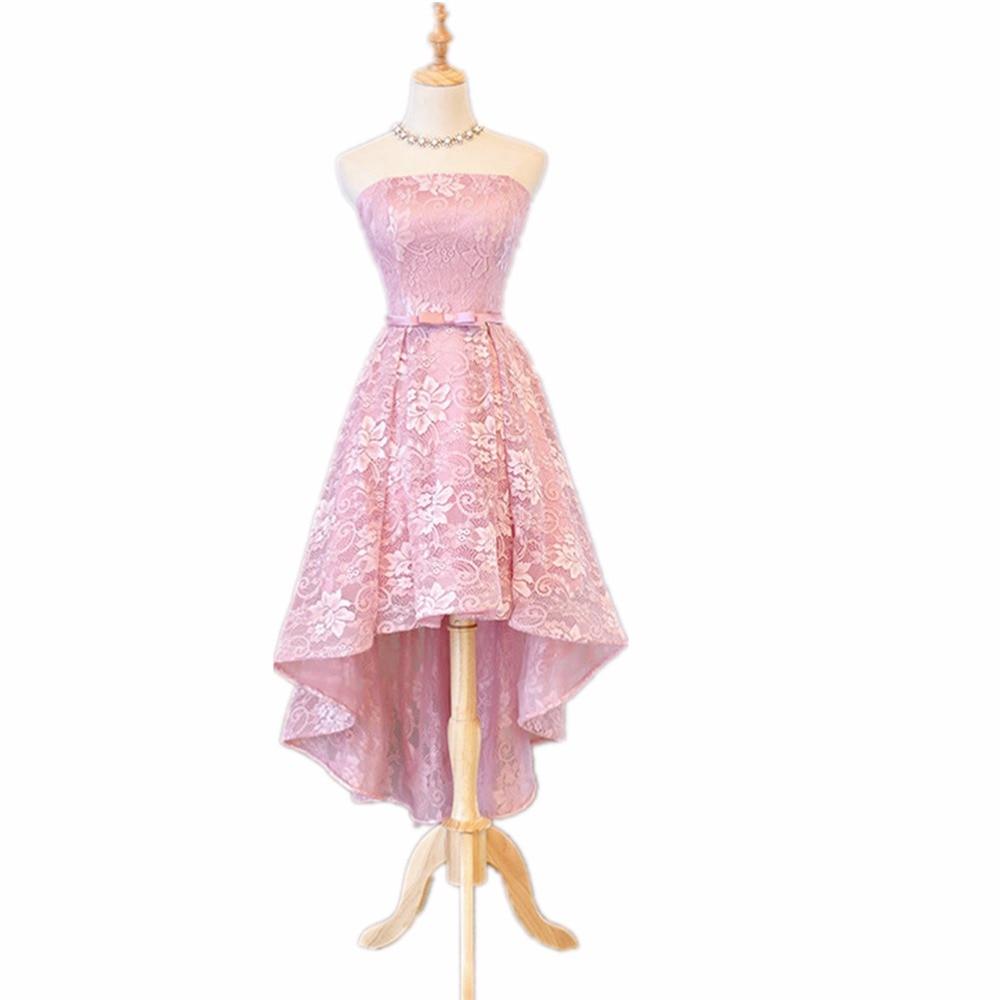 Foto Real En Stock Alta calidad Pink Lace Strapless asimétrico - Vestidos para ocasiones especiales