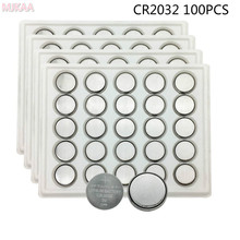 MJKAA 100Pcs CR2032 Button Cell Battery 3.0V 2032 Batteries DL2032 KCR2032 5004LC ECR2032