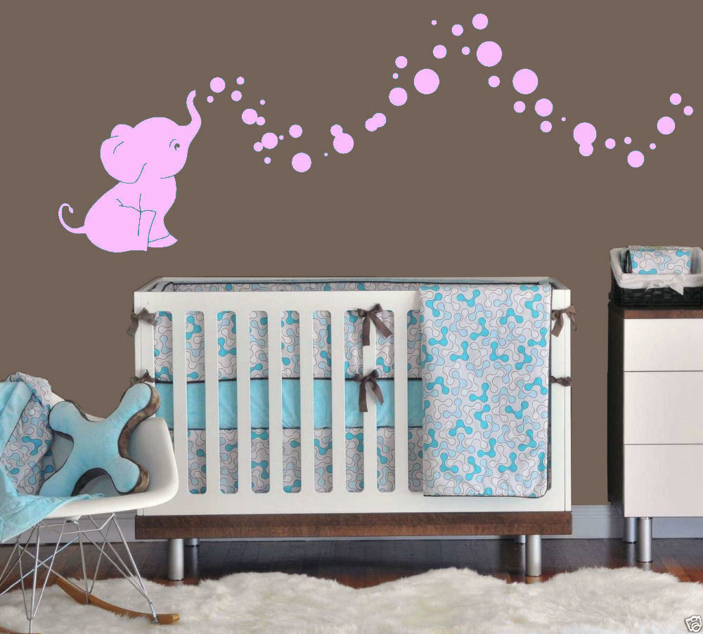 Baby room decorations - Free Shipping Top Sell Elephant Bubbles Baby Wall Decal Vinyl Wall Nursery Room Decor 40 Colors Effect Size 24inchx50inch