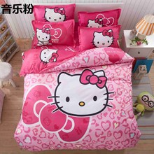 Home Textile Hello Kitty Bedding Set Cartoon Cotton Bed Set for Kids 4pcs Include Duvet Cover Bed Sheet Pillowcase Free Shipping