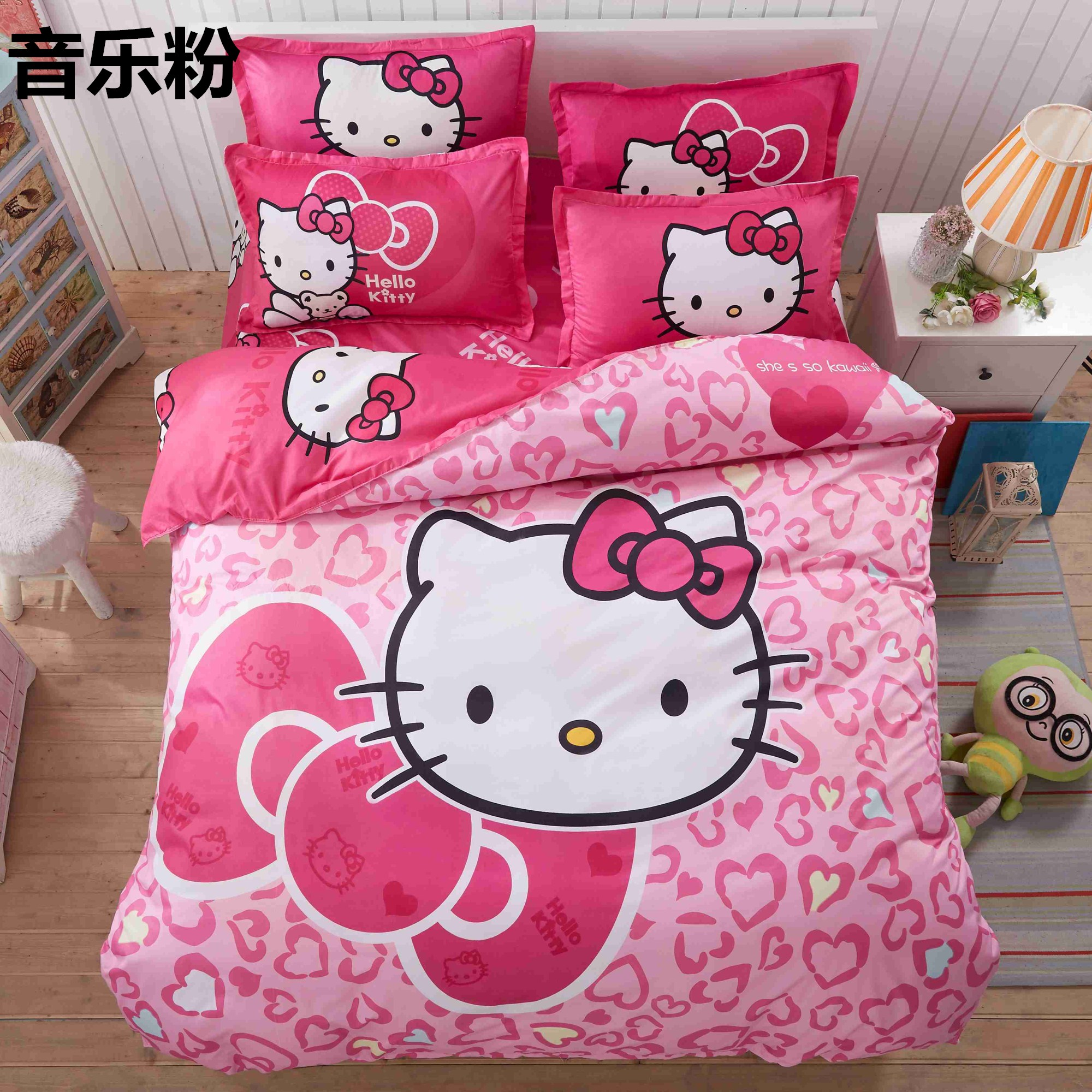 Pink hello kitty bedsheet - Home Textile Hello Kitty Bedding Set Cartoon Cotton Bed Set For Kids 4pcs Include Duvet Cover