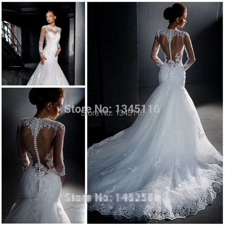 Buy long sleeves ivory white mermaid for Aliexpress mermaid wedding dresses